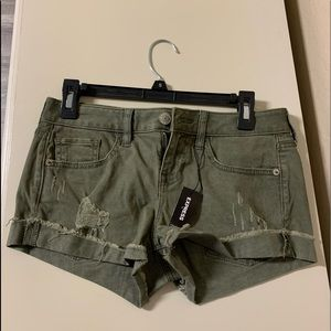 Express Olive Distressed Shortie Low Rise Shorts